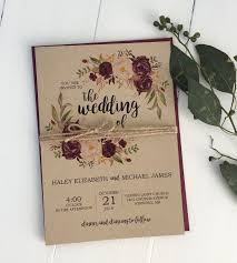 Rustic Burgundy Wedding Invitation Kraft