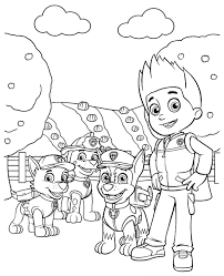 Ryder And Pups Coloring Sheet