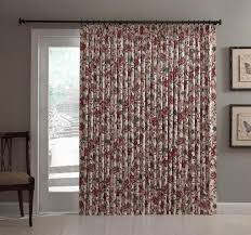 Jacobean Floral Design Curtains by Cornwall Thermal Insulated Pinch Pleated Patio Door Drapery Panel