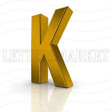 LettersMarket 3D gold Letter K isolated on a white background