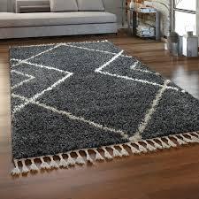hochflor teppich wohnzimmer shaggy langflor skandi muster mit fransen grau weiß