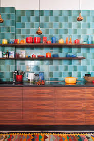 Decor Pottery Collection Colorful Rug Kitchen In Berlin Designer Loft Wood Cabinets Pattern 60s Style