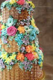 Bright Floral Basket Wedding Cake Three Tier Emma Page Buttercream Cakes LondonJPG
