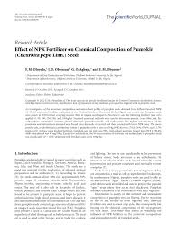 Water Soluble Pumpkin Seed Extract Uk by Effect Of Npk Fertilizer On Chemical Composition Of Pumpkin