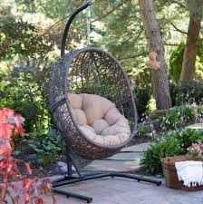 Wicker Egg Chair Swing Cushion Hanging Stand Outdoor Furniture