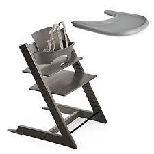 Stokke Tripp Trapp High Chair, Baby Set - Hazy Grey & Tray - Storm Grey