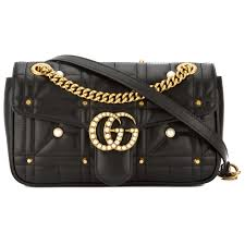 trousse de toilette gucci gucci black leather gg marmont matelasse shoulder bag new with