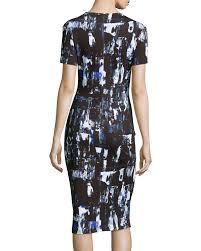 mcq richter print midi sheath dress in black lyst