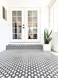 black white cement tile in sunroom brittanymakes home