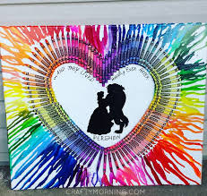 I Love This Beauty And The Beast Melted Crayon Canvas Just Glue Crayons In Groups Of Colors Shape A Heart Then Take Blow Dryer Point