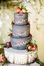 Grey Fall Wedding Cake With Gold Decoraion