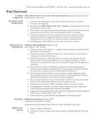 Law Enforcement Resume Format