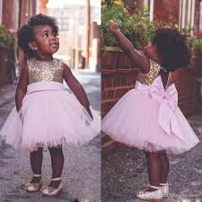 2017 Cute Rose Gold Sequins Flower Girls Dresses Back With Bow Knee Length Pink Tulle First Communion Dress Pageant Gowns Custom Made Little