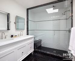 shower with beveled subway tiles contemporary bathroom the
