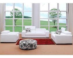 Modern White Fabric Sofa Set 44L0803