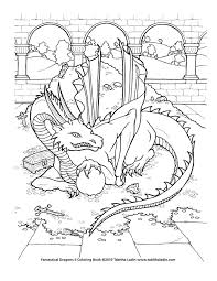 A Page From My Coloring Book Fantastical Dragons II Hand Drawn With Ink On Paper Treasure Dragon