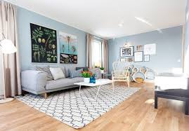 Light Blue And Grey Living Room With Wooden Futon