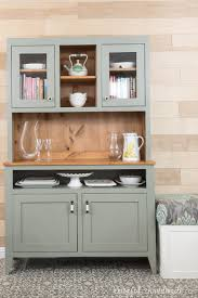 Gorgeous Gray Dining Room Hutch With Natural Knotty Wood In The Inside Lots Of Storage