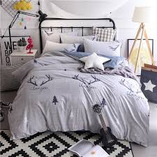 Cartoon Christmas Tree Elk Bedding Set Nordic Simple Geometric Stripes Gray Bed Sheet Duvet Cover Bedclothes Pillowcase Kids Comforters Sets