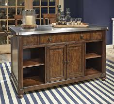 Gorgeous Portable Kitchen Island With Rustic Style Also Shiny Metal Surface