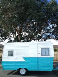 Vintage Travel Trailer 1958 Terry Turquoise White