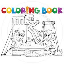 Cartoon Coloring Book Playground Theme