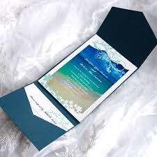 Beach Themed Wedding Invitation Kits Blue Cards With Cheap Pockets