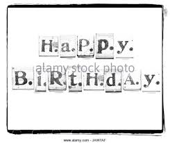 Happy Birthday Words Made from Vintage Wood Letter Press Stock Image