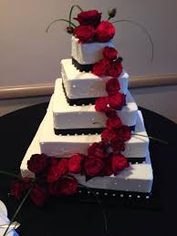 Red Black And White Wedding Cakes With Roses