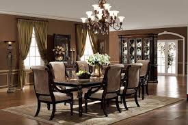 Formal Dining Room Chairs Inspirational Set Dark Brown Varnish Long Wooden Table