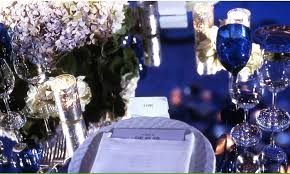 Old Hollywood Glamour Silver Navy Blue Wedding