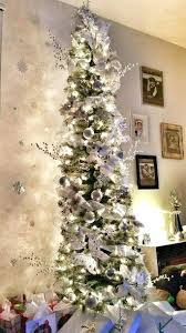 Slim Frosted Christmas Tree White Silver Skinny 7ft