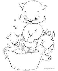 Baby Kitten With Her Mother Washing Activity Coloring Page