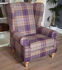 grande vintage style wing back chair kingsley check purple out