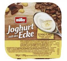 müller joghurt mit der ecke schoko flakes joghurt bananen geschmack