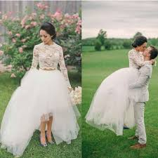 Rustic 2 Pieces High Low Bridal Dress Long Sleeves Lace Wedding Tulle Modest Gowns
