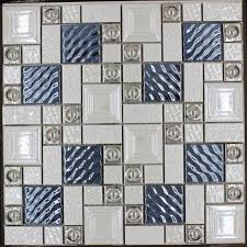 popular metal porcelain mixed mosaic tile blue silver beige white