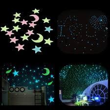 18Pcs Plastic Glowing In The Dark Moon Stars Stickers Wall Art Home