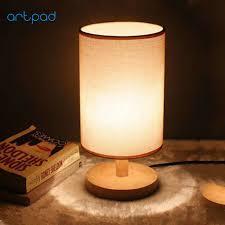 ArtPad Nordic Modern Wood Table Lamp E27 DIY Hand Painted Fabric Lampshade Creative Bedroom Desktop Light