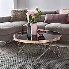 wohnling design ouchtisch glasplatte schwarz gestell kupfer ø 82 cm wohnzimmertisch verspiegelt sofatisch modern glastisch kaffeetisch rund
