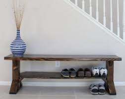 Solid Wood Farmhouse Entry Bench Storage Shoe Farm Style