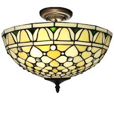 Home Depot Tiffany Style Lamps by Alvira 2 Light Bronze Indoor Off White Tiffany Style Ceiling Lamp