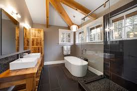 vancouver pebble tile shower bathroom contemporary with taupe