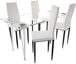 vidaxl essgruppe sitzgruppe esstisch und stühle esszimmerstühle esszimmer möbel hartglas tisch weiß slim line 4 stühle und 1 glastisch