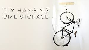 Ceiling Bike Rack Diy by Diy Hanging Bike Storage Youtube