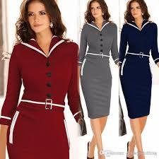New 2015 Fashion Fall Winter Vintage Dresses Women Elegant Business Work Wear Formal Pencil Dress Summer