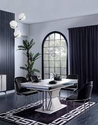 casa padrino luxus deco esszimmer set schwarz weiß grau silber 1 esszimmertisch 4 esszimmerstühle edle deco esszimmer möbel