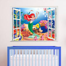 3d Living Bed Room Decoration Colorful Cartoon Mermaid Sea World Vinyl Wall Sticker Decal Window View Children Art Decor 1424 Large Removable