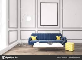 wohnzimmer mit poster blauem sofa und couchtisch