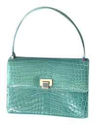 Tiffany Co Maddison Ave Lunch Box Blue Crocodile Shoulder Bag